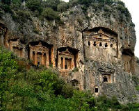 Famous tombs in the  Ruins of Kaunos near Dalyan